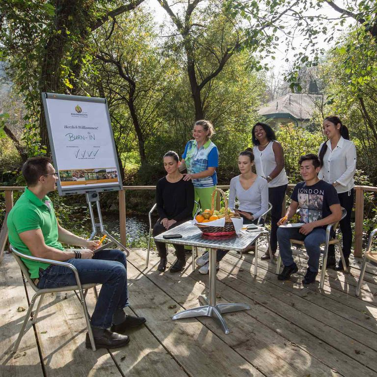 green meeting outdoor seminar at creek Schwechat